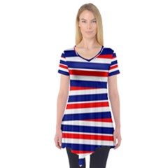 Red White Blue Patriotic Ribbons Short Sleeve Tunic