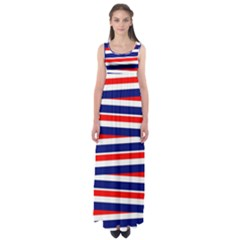 Red White Blue Patriotic Ribbons Empire Waist Maxi Dress