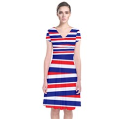 Red White Blue Patriotic Ribbons Short Sleeve Front Wrap Dress