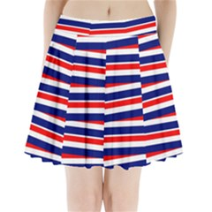 Red White Blue Patriotic Ribbons Pleated Mini Skirt