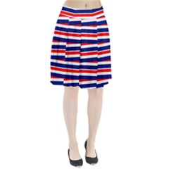 Red White Blue Patriotic Ribbons Pleated Skirt
