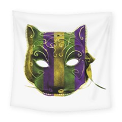 Catwoman Mardi Gras Mask Square Tapestry (large)