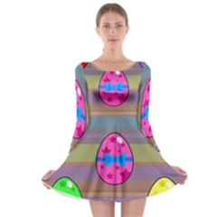 Holidays Occasions Easter Eggs Long Sleeve Skater Dress
