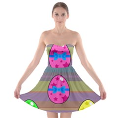 Holidays Occasions Easter Eggs Strapless Bra Top Dress