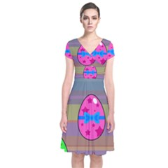Holidays Occasions Easter Eggs Short Sleeve Front Wrap Dress