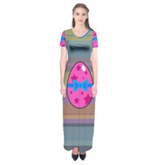 Holidays Occasions Easter Eggs Short Sleeve Maxi Dress