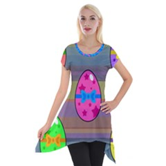 Holidays Occasions Easter Eggs Short Sleeve Side Drop Tunic