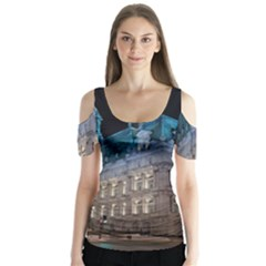 Montreal Quebec Canada Building Butterfly Sleeve Cutout Tee