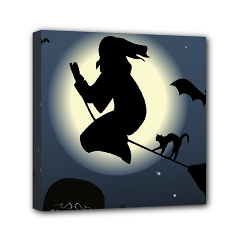 Halloween Card With Witch Vector Clipart Mini Canvas 6  x 6