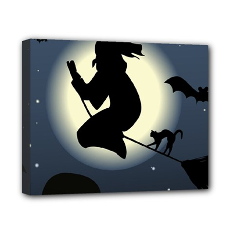 Halloween Card With Witch Vector Clipart Canvas 10  x 8