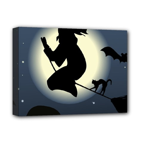Halloween Card With Witch Vector Clipart Deluxe Canvas 16  x 12