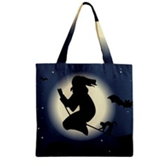 Halloween Card With Witch Vector Clipart Zipper Grocery Tote Bag