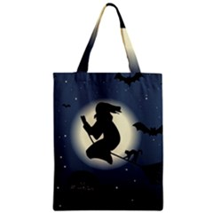 Halloween Card With Witch Vector Clipart Zipper Classic Tote Bag