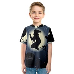 Halloween Card With Witch Vector Clipart Kids  Sport Mesh Tee
