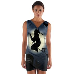 Halloween Card With Witch Vector Clipart Wrap Front Bodycon Dress