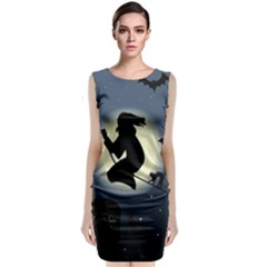 Halloween Card With Witch Vector Clipart Classic Sleeveless Midi Dress