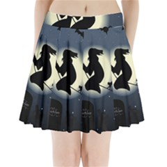 Halloween Card With Witch Vector Clipart Pleated Mini Skirt