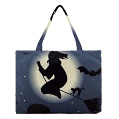 Halloween Card With Witch Vector Clipart Medium Tote Bag