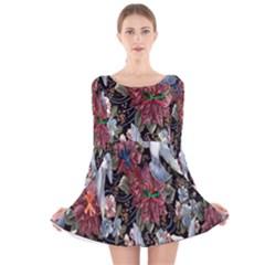 Quilt Long Sleeve Velvet Skater Dress