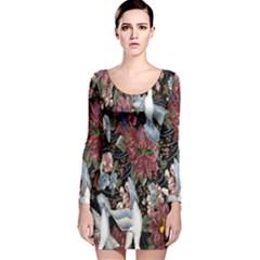 Quilt Long Sleeve Velvet Bodycon Dress