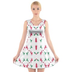 Reindeer Pattern V Neck Sleeveless Skater Dress