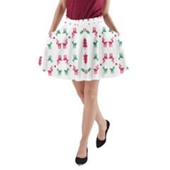 Reindeer Pattern A Line Pocket Skirt