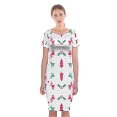 Reindeer Pattern Classic Short Sleeve Midi Dress
