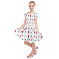 Reindeer Pattern Kids  Short Sleeve Dress