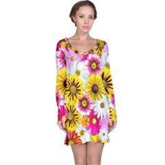 Flowers Blossom Bloom Nature Plant Long Sleeve Nightdress