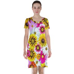 Flowers Blossom Bloom Nature Plant Short Sleeve Nightdress