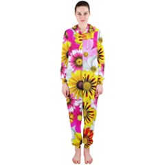 Flowers Blossom Bloom Nature Plant Hooded Jumpsuit (Ladies)