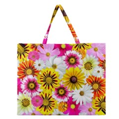 Flowers Blossom Bloom Nature Plant Zipper Large Tote Bag