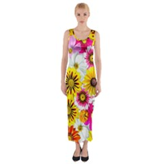 Flowers Blossom Bloom Nature Plant Fitted Maxi Dress