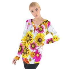 Flowers Blossom Bloom Nature Plant Women s Tie Up Tee