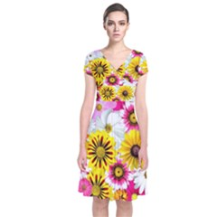 Flowers Blossom Bloom Nature Plant Short Sleeve Front Wrap Dress