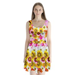 Flowers Blossom Bloom Nature Plant Split Back Mini Dress