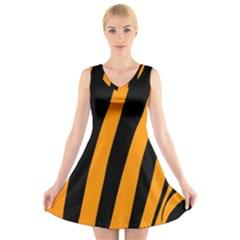 Tiger Pattern V Neck Sleeveless Skater Dress