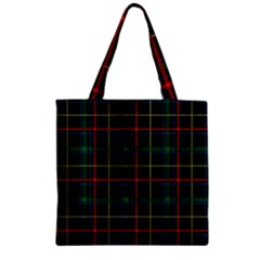 Plaid Tartan Checks Pattern Zipper Grocery Tote Bag