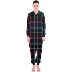 Plaid Tartan Checks Pattern Hooded Jumpsuit (Ladies)