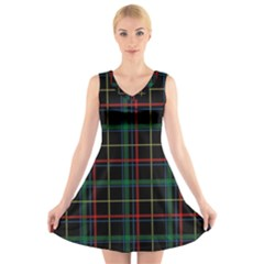 Plaid Tartan Checks Pattern V Neck Sleeveless Skater Dress