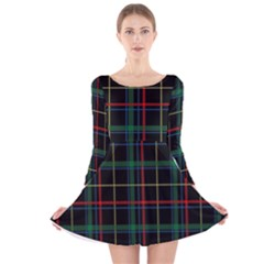 Plaid Tartan Checks Pattern Long Sleeve Velvet Skater Dress