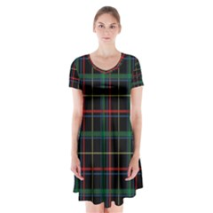 Plaid Tartan Checks Pattern Short Sleeve V-neck Flare Dress