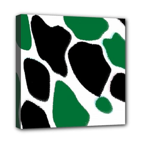 Green Black Digital Pattern Art Mini Canvas 8  x 8