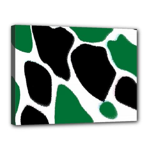 Green Black Digital Pattern Art Canvas 16  x 12