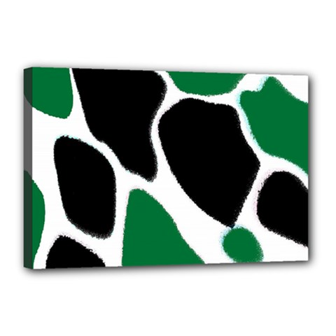 Green Black Digital Pattern Art Canvas 18  x 12