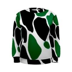 Green Black Digital Pattern Art Women s Sweatshirt