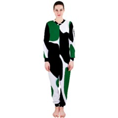 Green Black Digital Pattern Art Onepiece Jumpsuit (ladies)