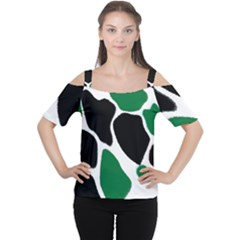 Green Black Digital Pattern Art Women s Cutout Shoulder Tee