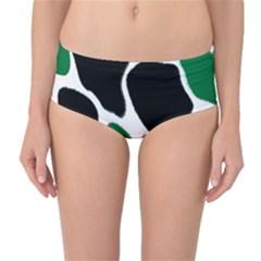 Green Black Digital Pattern Art Mid-Waist Bikini Bottoms