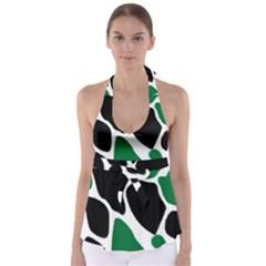 Green Black Digital Pattern Art Babydoll Tankini Top